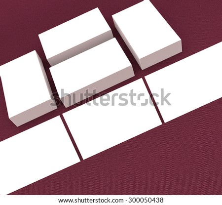template to presentation. place for your design. many cards. stacks of paper. greeting cards. flyers. business cards. canvas background. red background