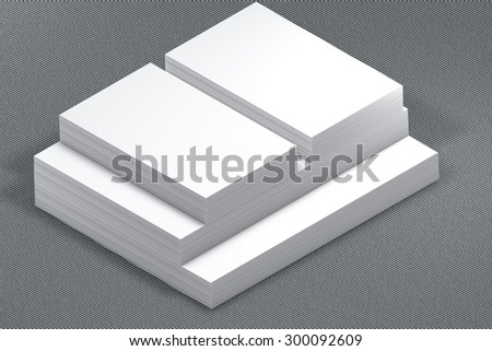 template to presentation. place for your design. many cards. stacks of paper. greeting cards. flyers. business cards. canvas background. A4. envelope. grey background