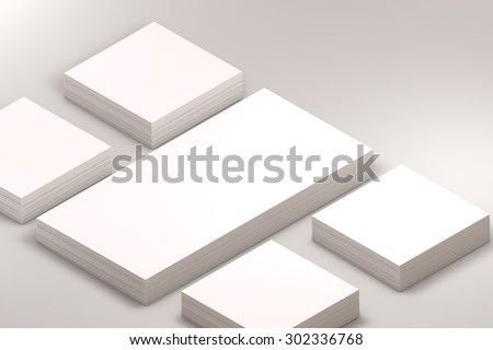 template to presentation. place for your design. many cards. stacks of paper. greeting cards. flyers. business cards. white background. envelope. warm light
