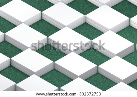 template to presentation. place for your design. many cards. stacks of paper. greeting cards. flyers. business cards. canvas background. checkerboard pattern. green background