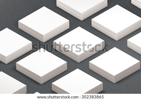 template to presentation. place for your design. many cards. stacks of paper. greeting cards. flyers. business cards. canvas background. square card. grey background