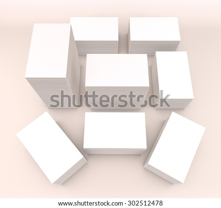 template to presentation. place for your design. many cards. stacks of paper. greeting cards. flyers. business cards. light background.  warm light