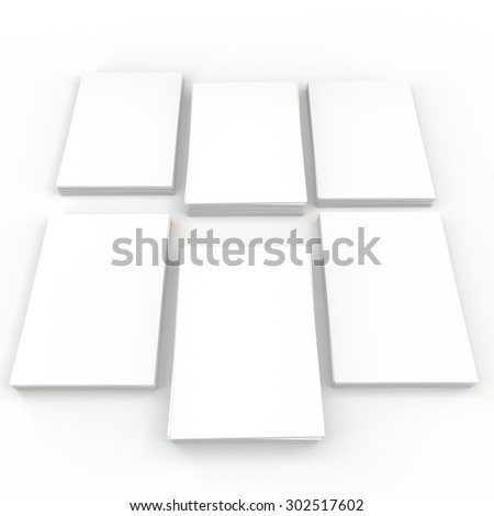 template to presentation. place for your design. many cards. stacks of paper. greeting cards. flyers. business cards. white background.