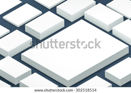 template to presentation. place for your design. many cards. stacks of paper. greeting cards. flyers. business cards. canvas background. A4. blue background