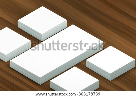 template to presentation. place for your design. many cards. stacks of paper. greeting cards. flyers. business cards. wood background. envelope.