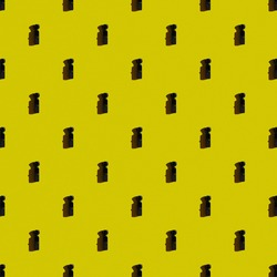 Template. Vertical modern mini camcorder on yellow background.Top view, flat lay, layout.