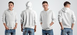 Template white hoodie on a young guy, front and back view. Mockup of sweat with a hood on the background for design presentation. Set of 4 things