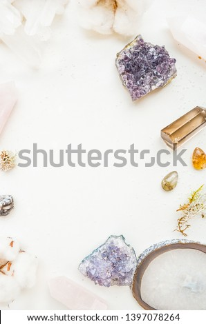 Template with space for with crystals, gem stones, amethyst, rock crystal, smoky quartz, rose quartz and a sprig of cotton #1397078264