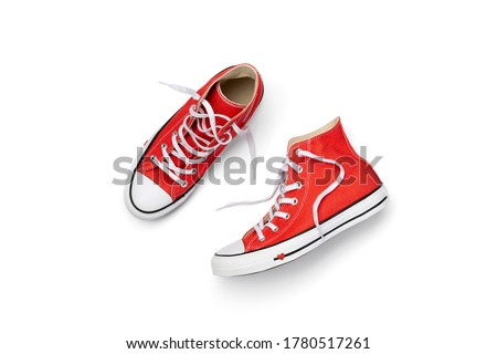 Template with summer footwear over white background. Flat lay top view red sneakers with copy space. Fashion shopping sale concept Foto stock ©