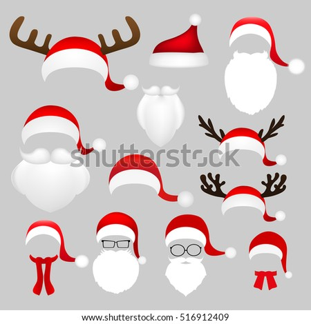 Stock Photo Templates for picture reindeer antlers and a hat with a beard and mustache Santa Claus