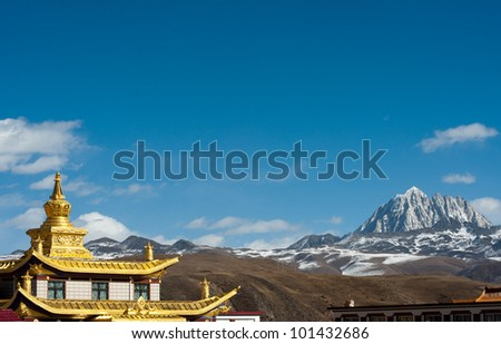 temple and snow mountain