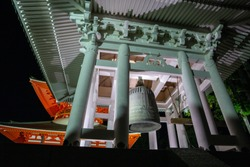 Temple house and bell on the sacred mountain Koyasan, Japan