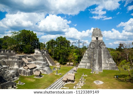 Temple I, El Gran Jaguar one of the mayor structures at Tikal, Guatemala. This structure is a funerary temple located on the Great Plaza. #1123389149