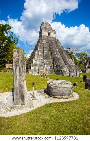 Temple I, El Gran Jaguar one of the mayor structures at Tikal, Guatemala. This structure is a funerary temple located on the Great Plaza. #1123597781