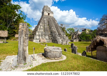 Temple I, El Gran Jaguar one of the mayor structures at Tikal, Guatemala. This structure is a funerary temple located on the Great Plaza.  #1123597802