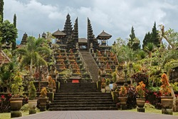 Temple in Bali. Indonesia. Bali. The Temple Of Pura Besakih. Pura Besakih located on the slope of the mountain, where supposedly live the spirits friendly to man, who prayed in this temple.G