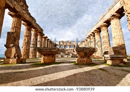 Temple in the archaeological site of Selinunte in Sicily
