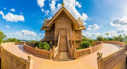 Temple made of sandstone church in a house style at Khao Wan Chai Nawarat Temple Pakchong, Nakhon Ratchasima, Thailand.