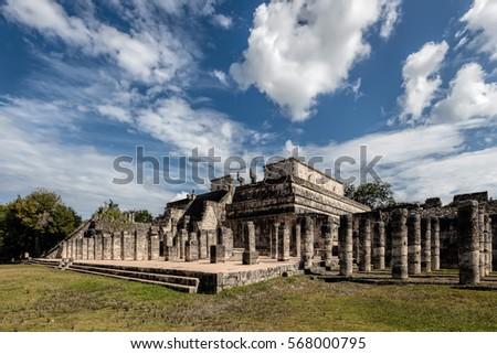 Temple of a Thousand Warriors at the Chichen Itza archaeological site in Yucatan, Mexico. Built by Toltec conquerors in 950 AD. #568000795