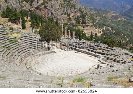 Temple of Apollo and the theater at Delphi oracle archaeological site in Greece - stock photo