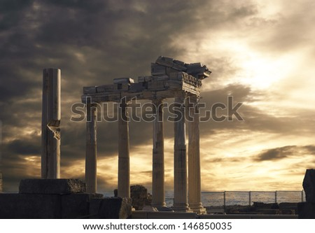 Temple of Apollo in Side, Turkey - stock photo
