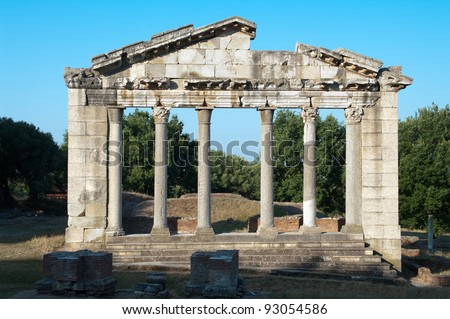 Temple Of Apollonia in the largest ancient city in Albania, a Corinthian Greek colony founded in the 6th century BC