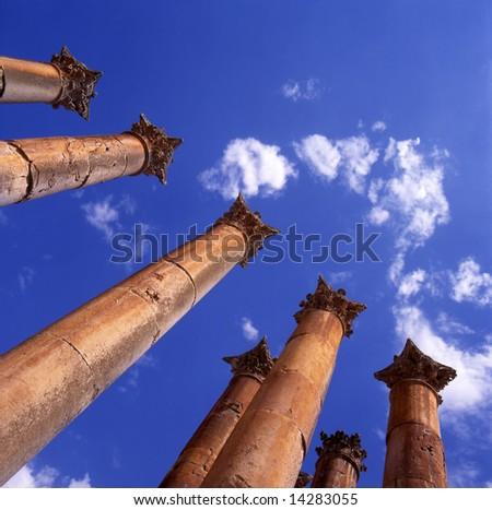 Temple of Artemis in Jerash, Jordan. Corinthian columns detail.