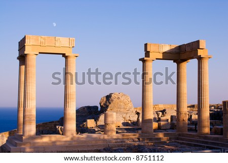 Temple of Athena at the top of Acropolis in the ancient town Lindos, Rhodes island, Greece