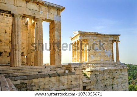 Temple of Athena Nike Propylaea Ancient Entrance Gateway Ruins Acropolis Athens Greece Construction ended in 432 BC Temple built 420 BC.  Nike in Greek means victory.