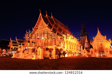 Temple of buddhism with evening light at chiangmai, thailand