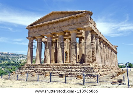 Temple of Concordia - Valley of the Temples in Agrigento on Sicily, Italy