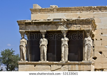 Temple of Erechteion with the caryatids statues at Acropolis, Athens, Greece