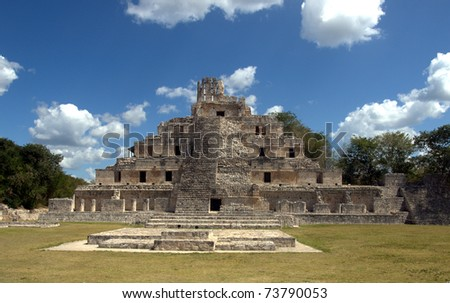 Temple of Five Floors, Edzna Mayan ruins in the southern Yucatan, Campeche, Mexico.  This site with its Ri­o Bec architecture featuring a crowned  pyramid is missed by most tourists.