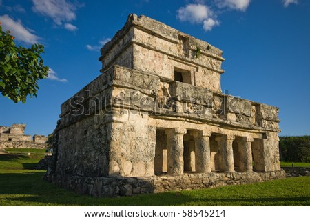 temple of frescoes, tulum, mexico - stock photo
