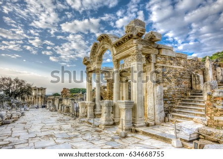 Temple of Hadrian HDR view in Ephesus Ancient City
