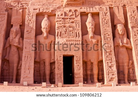 temple of hathor at abu simbel, egypt