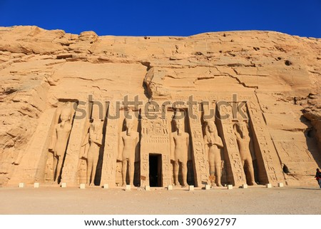 Temple of Hathour built by  Ramses II dedicated to his wife, Nerfertari, Abu Simbel in Egypt #390692797