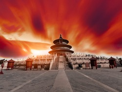 Temple of Heaven landscape at sunset in Beijing,China,dark sky