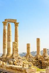 Temple of Hercules at Amman Citadel in Amman, Jordan. Amman Citadel is known in Arabic as the Jabal al-Qal'a.