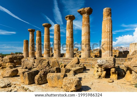 Temple of Hercules in the Valley of the Temples, Agrigento, Sicily, Italy. Valley of the Temples in Agrigento, Sicily, Italy.