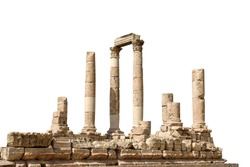 Temple of Hercules isolated on white background. It is a historic site in the Amman Citadel in Amman, Jordan