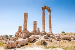 Temple of Hercules of the Amman Citadel complex (Jabal al-Qal'a), a national historic site at the center of downtown Amman, Jordan.