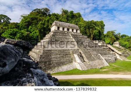 Temple of Inscriptions, the most important temple in the Mayan ruins of Palenque