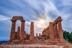 Temple of Juno - ancient Greek landmark in the Valle dei Templi outside Agrigento, Sicily