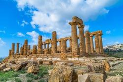 Temple of Juno (Tempio di Giunone) Hera. Valle dei Templi (Valley of the Temples). Agrigento Sicily Italy.