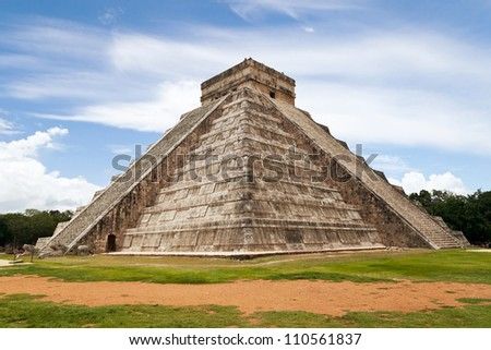 Temple of Kukulkan, a Mesoamerican step-pyramid that dominates the center of the Chichen Itza archaeological site in the Mexican state of Yucatan, Mexico