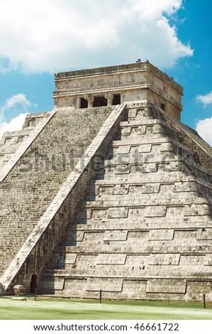 Temple of Kukulkan Pyramid (also known as El Castillo) in Chichen Itza, Mexico - stock photo