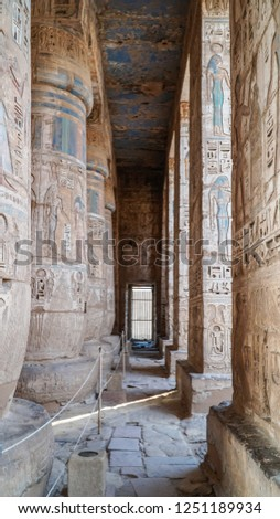 Temple of Medinet Habu. Egypt, Luxor. The Mortuary Temple of Ramesses III at Medinet Habu is an important New Kingdom period structure in the West Bank of Luxor in Egypt #1251189934