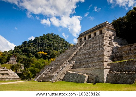 Temple of Palenque, an ancient mayan ruin, located in Palenque, Yucatan, Mexico
