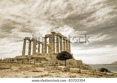 temple of poseidon in Sounio, Greece